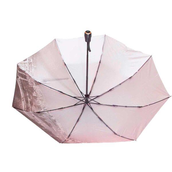 Женский зонт двухсторонний кораллового цвета проявляющий