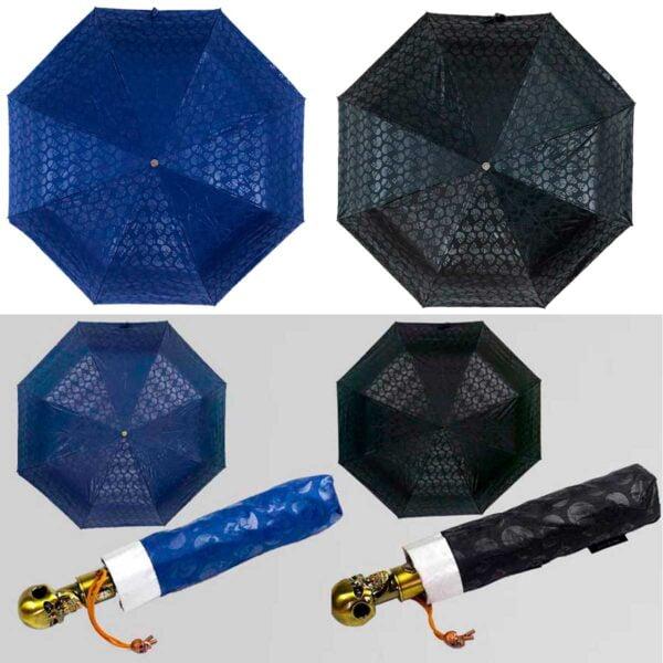 Зонт-ручка в форме-черепа полный автомат двухсторонний