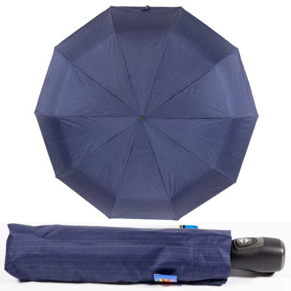 Темно-синий зонт полный автомат в мелкую полоску-Lucky Elephants