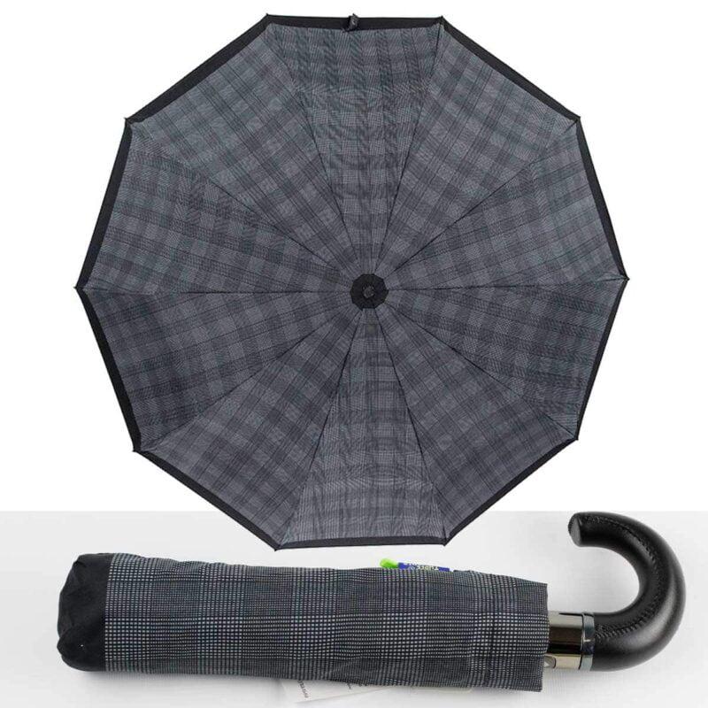 Мужские зонты Три Слона полный автомат в мелкую клетку